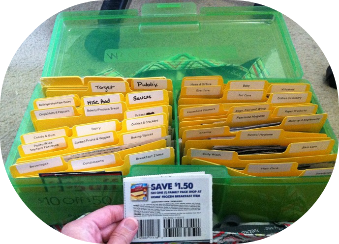 box with clipped coupons