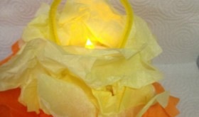 Darling DIY: Tissue Paper Candy Corn Lantern