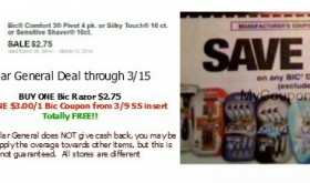 FREE Bic Razors at Dollar General through 3/15!!