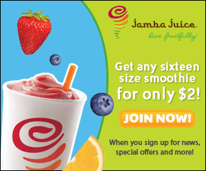 Do you love everything that Jamba Juice has to offer? To reward you for your loyalty, use this coupon before February 28 and enjoy a discount of $2 on a Smoothie, Juice or Energy Drink! Don't hesitate and place your order before the deadline!