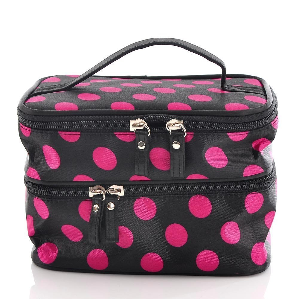 Pink And Black Polka Dot Cosmetic Bag Only 4 16 Shipped