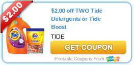 image about Boost Coupons Printable identified as Fresh Printable Coupon: $2.00 Off 2 Tide Detergents or Tide