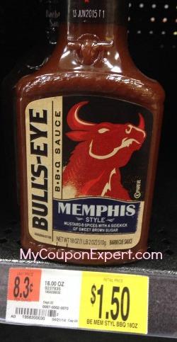 Bulls Eye BBQ Sauce 18 oz just $.25 each at Walmart with price match!