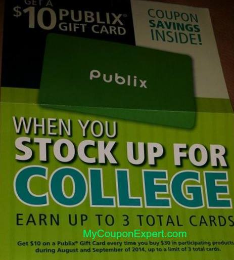 FREE $10 Publix Gift Card with Stock Up for College Tearpad