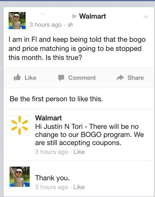 BOGO price matching stopping walmart
