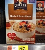 Quaker Instant Oatmeal Only $1.25 at Walmat Until 8/20