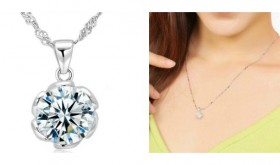 Dazzling Swarovski Crystal Flower Pendant Necklace Only $5.99 – 88% Savings