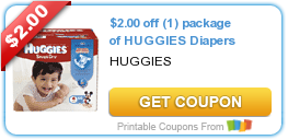 graphic relating to Printable Huggie Coupons named Contemporary Printable Coupon: $2.00 off (1) package deal of HUGGIES Diapers ·