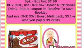 BOOST Nutritional Drinks 6 pack just $.99 at Publix!!