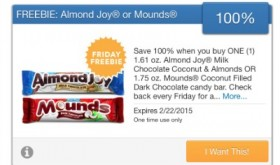 FREE Almond Joy or Mounds Candy Bar