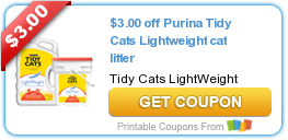 image regarding Tidy Cat Printable 3.00 Coupon titled Fresh new Printable Discount codes: $3.00 off Purina Tidy Cats