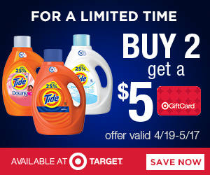 FREE $5 Target Gift Card with the Purchase of 2 Select Tide Products