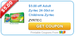 photograph regarding Printable Zyrtec Coupon identify Sizzling Refreshing Printable Coupon codes: Zyrtec, Schick, Horizon, Often