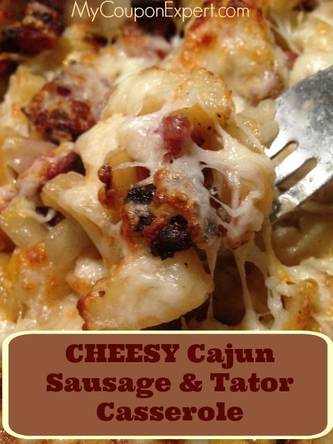 Cheesy Cajun Sausage & Tator Casserole!  Yummy!!