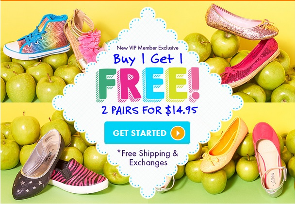 HOT DEAL!  B1G1 Free Kids Shoes!  TWO PAIRS for $14.95 including shipping!
