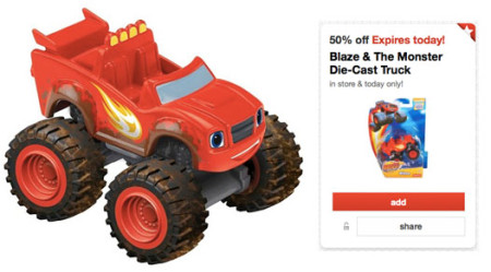 Target 50% off Toy deal for 11/13 – Blaze & The Monster Die-Cast Truck Only $2.50!!
