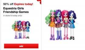 Target 50% off Toy deal for TODAY ONLY (11/11) – My Little Pony Equestria Girls Friendship Games Only $6.50