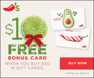 Free $10 Chili's Gift Card with the Purchase of $50 or More in Gift Cards