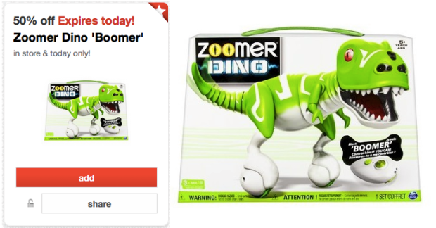 Target 50% off Toy Deal for Today ONLY – Zoomer Dino Boomer Only $39.99