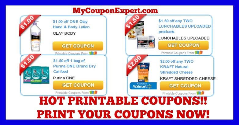 check these coupons out print now mitchum kraft lunchables velveeta purina olay oscar mayer and more