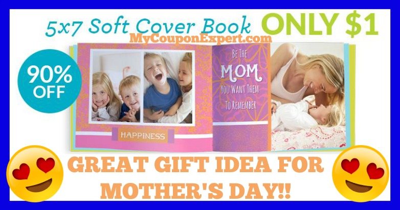 {Great Mother's Day Gift Idea!!} 5X7 Soft Cover Photo Book Only $1.00 – 90% Savings!!