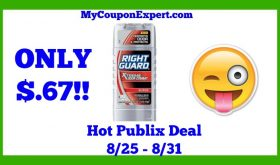 Publix Hot Deal Alert! Right Guard Products Only $.67 Until 8/31