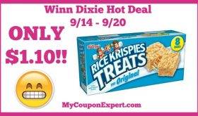 Winn Dixie Hot Deal Alert! Rice Krispies Treats Only $1.10 Starting 9/14