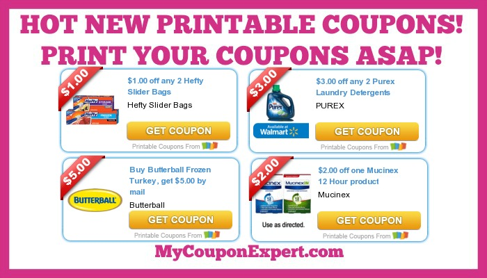 graphic relating to Mucinex Printable Coupon identified as Incredibly hot Clean Printable Discount codes: Purex, Significant, Butterball, Mucinex