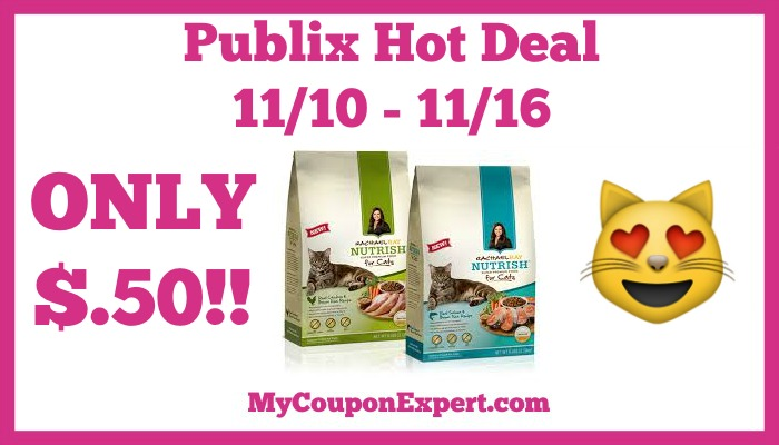 Hot Deal Alert! Rachael Ray Nutrish Zero Grain Dry Food For Cats Only $.50 at Publix from 11/10 – 11/16