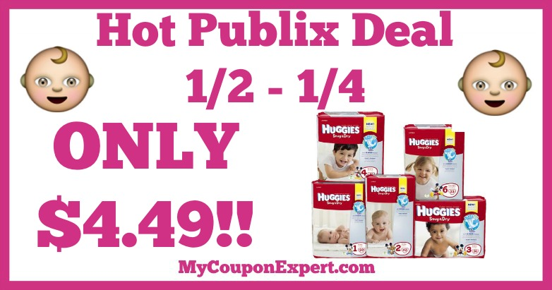 Hot Deal Alert! Huggies Diapers Only $4.49 at Publix from 1/2 – 1/4