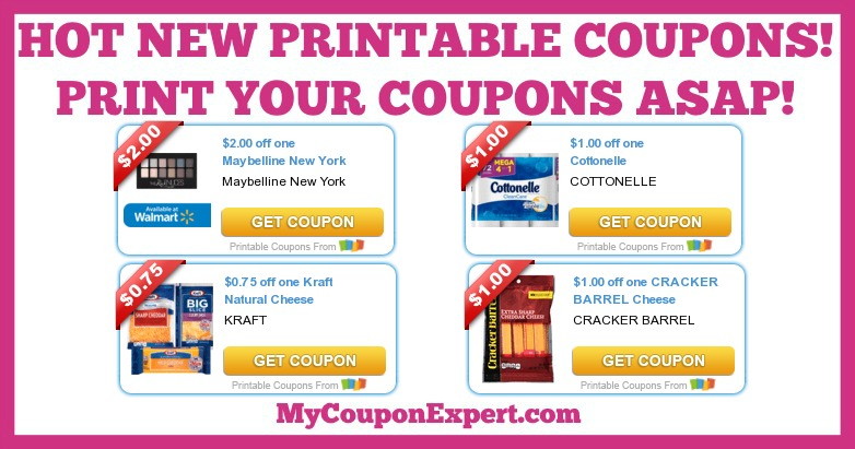 graphic regarding Kraft Coupons Printable named Incredibly hot Fresh Printable Discount coupons: Kraft, Maybelline, Cottonelle