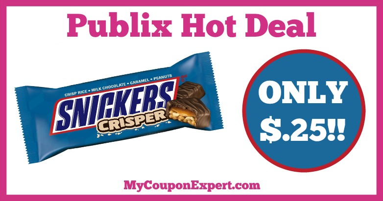 Hot Deal Alert! Snickers Bar Only $.25 at Publix from 1/7 – 1/27