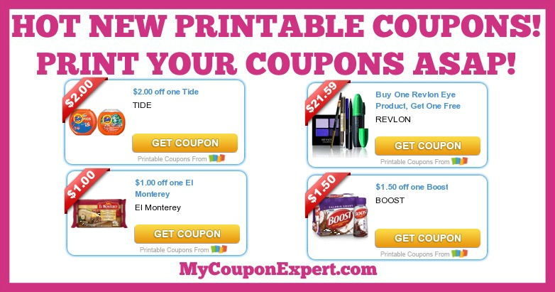 picture about Revlon Printable Coupon named Scorching Contemporary Printable Coupon codes: Enhance, Tide, Revlon, El Monterey