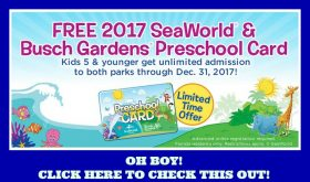 FREE Seaworld and Busch Gardens Preschool Pass!! LOOOOK!!