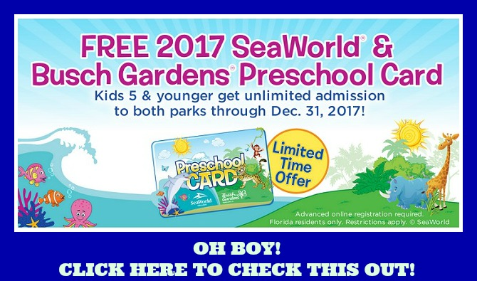 Free Seaworld And Busch Gardens Preschool Pass Looook