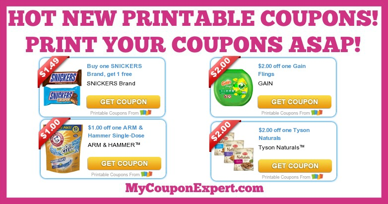image regarding Arm and Hammer Printable Coupons titled Very hot Fresh new Printable Coupon codes: Earnings, Snickers, Tyson, Arm