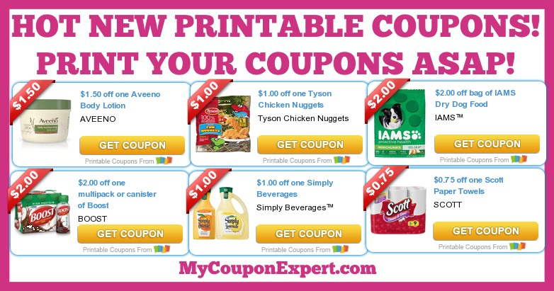 graphic relating to Scott Printable Coupons called Sizzling Refreshing Printable Coupon codes: Scott, Increase, Aveeno, Tyson, Iams