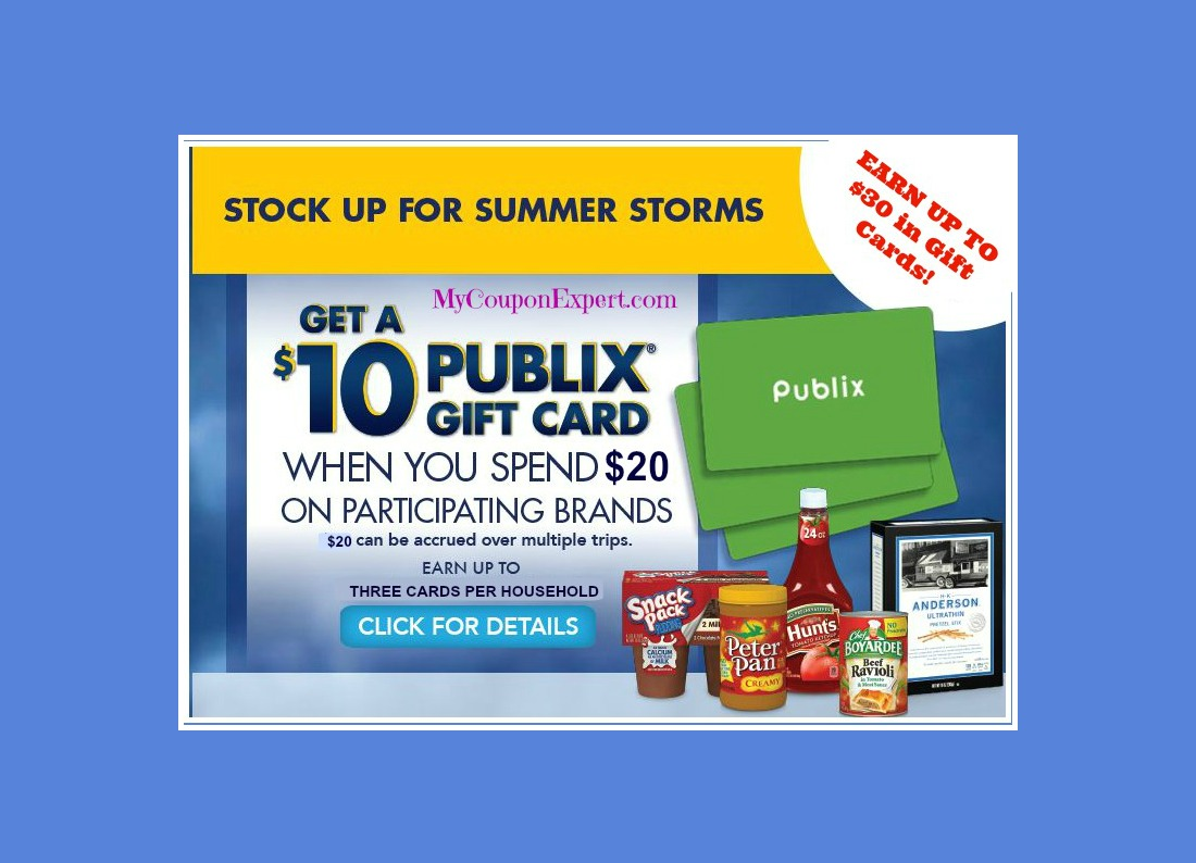 Publix Summer Storm Savings Promo!  Get a $10 Gift Card!!