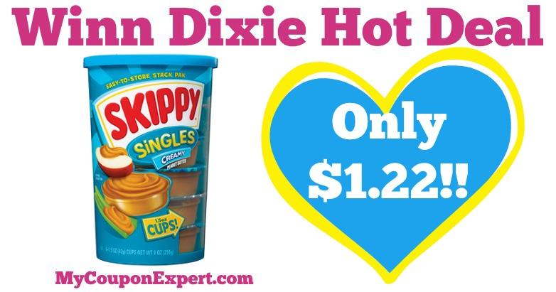 Skippy Peanut Butter or Singles only $1.22 at Winn Dixie!