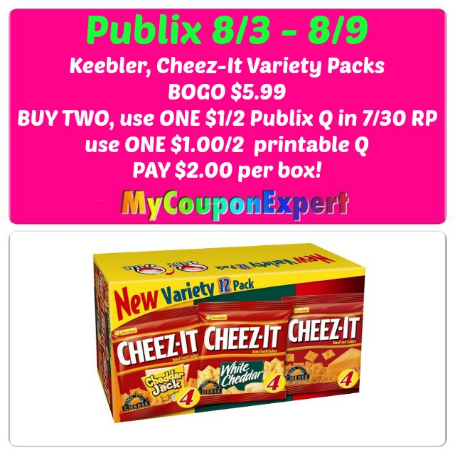 photo relating to Cheez It Coupon Printable named Publix Sizzling Package deal Notify! Keebler / Cheez-Its Number $2.00
