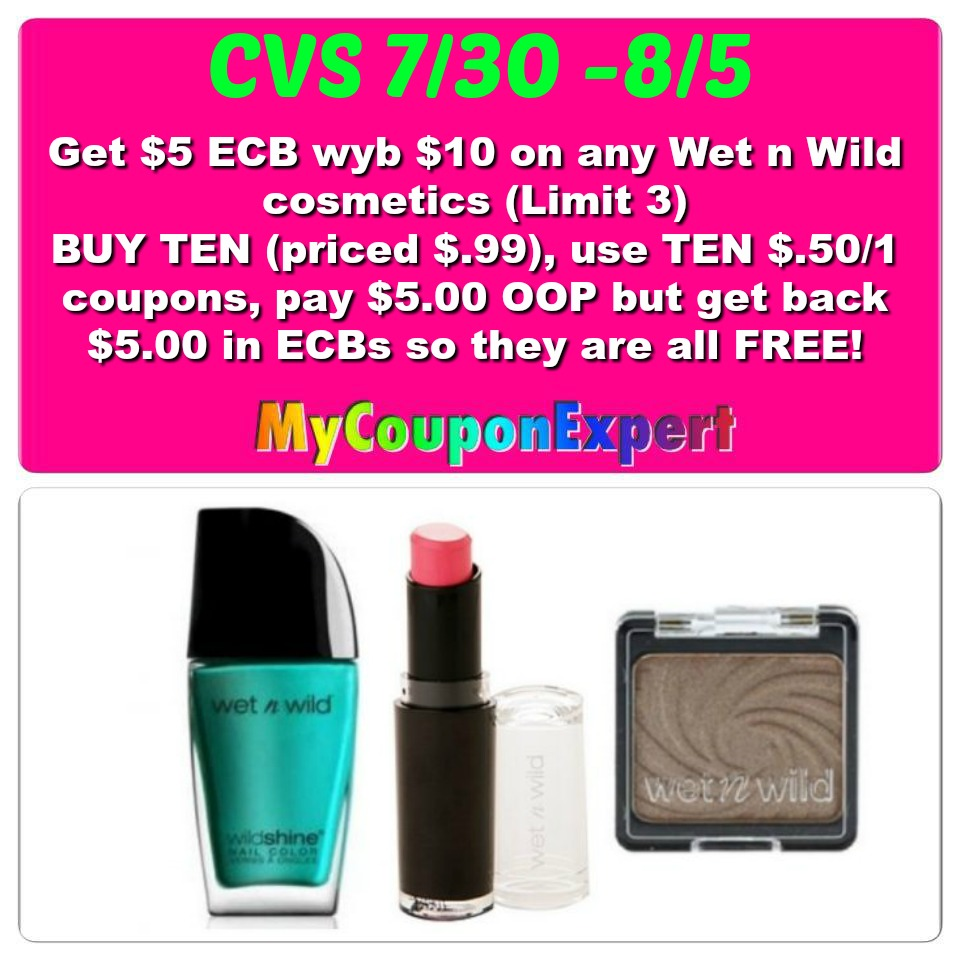 oh yeah   free wet n wild cosmetics at cvs from 7  30  5