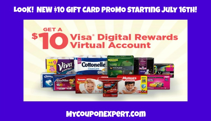 LOOK!  New $10 Visa Gift Card Promotion from Kimberly Clark!!  GOOD ONE!