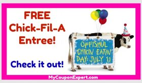 FREE Chick-Fil-A Entree July 11th!!  Dress like a cow!!