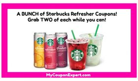 WOW!  Lots of Starbucks Refreshers Coupons!  Check this out!