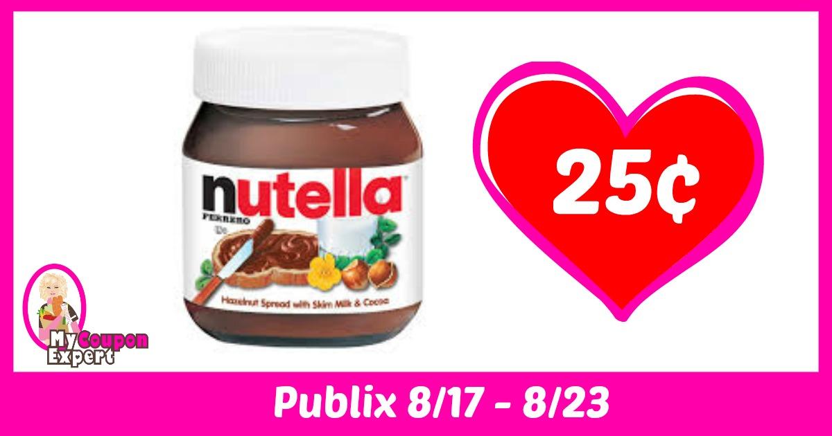 Nutella Hazelnut Spread only 25¢ each