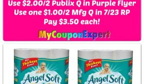 Angel Soft Bath Tissue 12 double rolls or 6 Mega just $3.50 each at Publix!