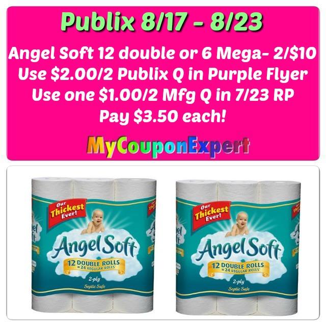 Angel Soft Bath Tissue 12 double rolls or 6 Mega just $3.50 each at Publix!
