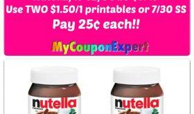 Nutella Hazelnut Spread just 25¢ each at Publix!