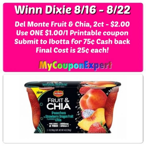 image about Del Monte Printable Coupons known as Del Monte Fruit Chia only $.25 at Winn Dixie beginning 8/16! ·