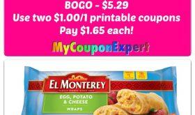 El Monterey Breakfast Wraps, 8 ct, $1.65 each pack at Winn Dixie!